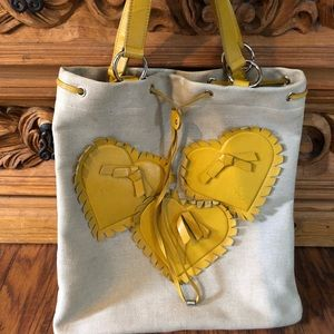 Authentic Yves Saint Lorent yellow tan heart tote